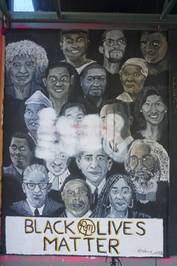 The faces of 18 Black activists fill the walls of Pioneer Square. Artist Robert McKizzie has taken to the walls of Downtown Portland to express his views on the Black Lives Matter movement.