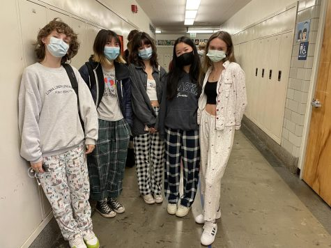 Seniors celebrate the first day of spirit week wearing pajamas. With the cancellation of the annual homecoming dance, students are still finding ways to show their school spirit.